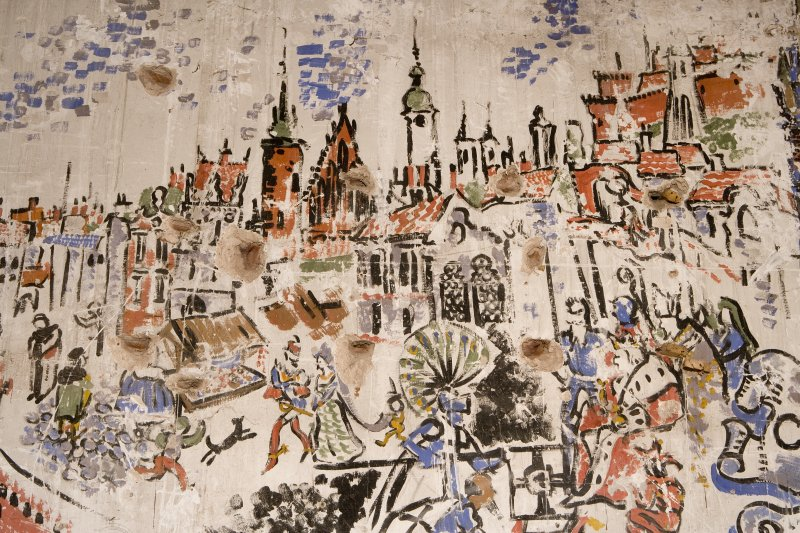 Interior. Detail of section of 1st floor painted scene on wall undertaken by Polish Soldiers in World War II.