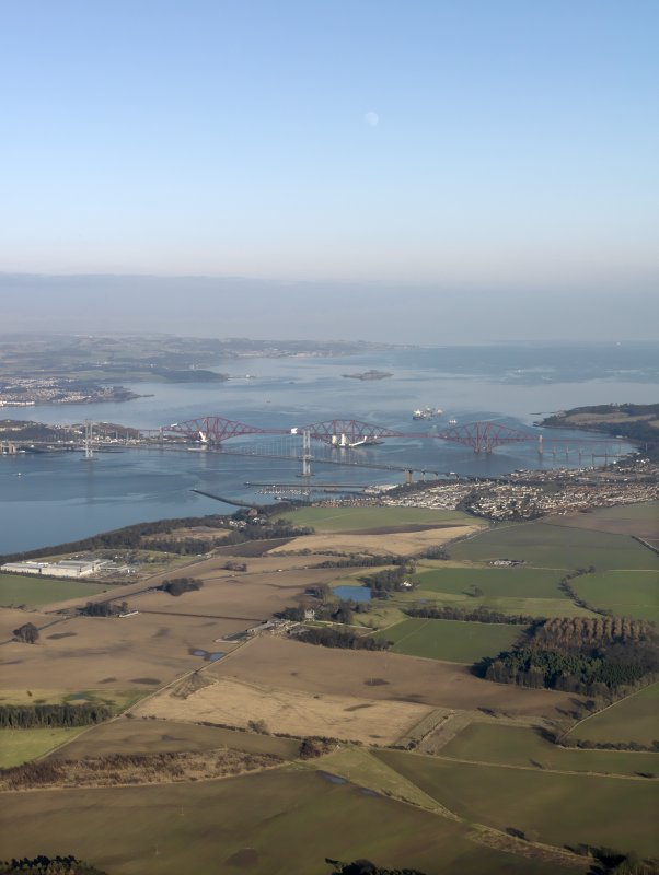 General oblique aerial view centred on the Forth Bridge and the Forth Road Birdge, taken from the WSW.