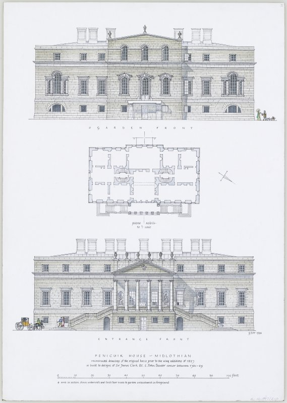 Digital copy of ink drawing of reconstruction of Penicuik House, Midlothian.