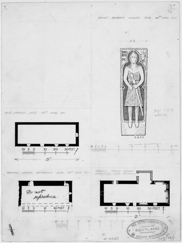 "Skye, Dunvegan, St. Mary's Old Parish Church; Trumpan Church; Gille Chriosd; Skeabost Churchyard. Three church plans (1"":16') and sketch of effigy (1"":1'4"") in Skeabost Island churchyard (MacSween)."