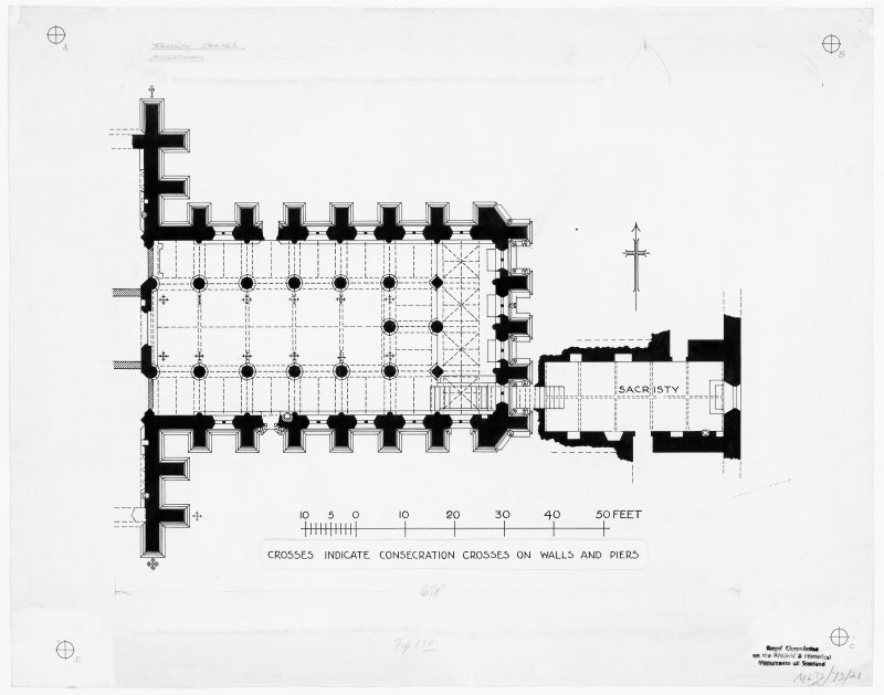 Plan of Rosslyn Chapel, Roslin. Titled: 'Crosses indicate consecration crosses on walls and piers' 'Crypt found, Feb 84. Overlay drawn 18.4.84' AL'