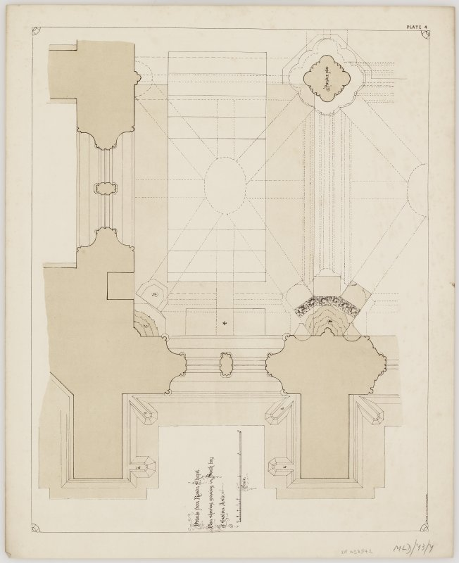Illustrations of details of Rosslyn Chapel. Titled: 'Details from Roslin Chapel' 'Plan shewing groining in South bay' 'Eastern Aisle' 'Meas. and Drawn by E.F.G Clark' 'Plate 4'. Folder titled: 'Transactions of the Architectural Institute of Scotland. Session 1862 - 63. Illustrations of Scottish Buildings. Dunblane Cathedral - Rosslyn Chapel'.