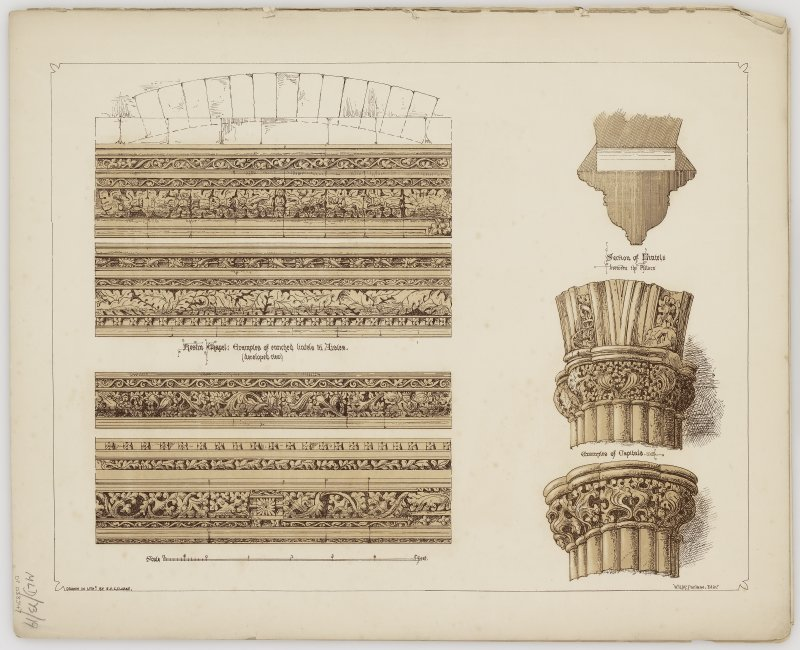 Illustration of examples of enriched lintels and capitals. Titled: 'Roslin Chapel: Examples of enriched lintels in aisles (developed view)' 'Section of lintels between the pillars' 'Examples of capitals'. Folder titled: 'Transactions of the Architectural Institute of Scotland. Session 1863 - 64. Illustrations of Scottish Buildings. Elgin Cathedral - Rosslyn Chapel'.