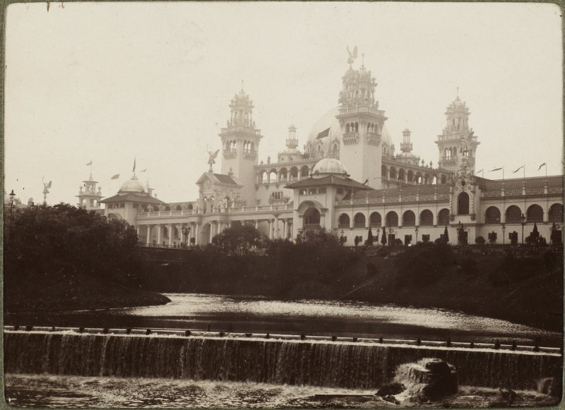 View of exhibition buildings at 1901 International Exhibition in Glasgow.