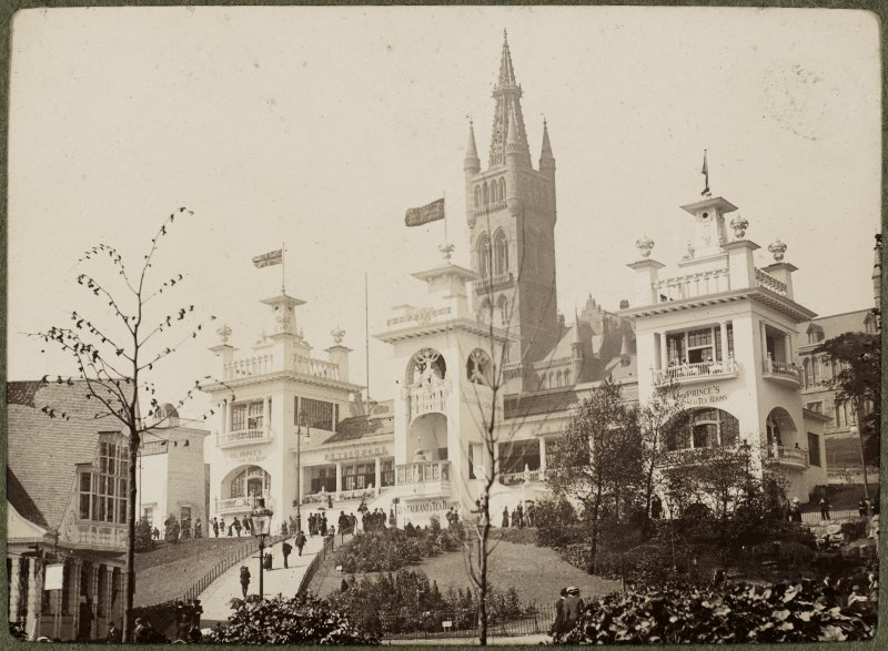 View of buildings at the International Exhibition in Glasgow 1901 with Glasgow University in the background.