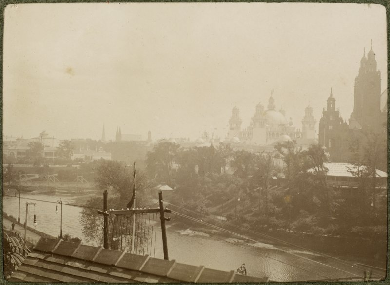 View of buildings at the International Exhibition in Glasgow 1901 buildings and Kelvingrove Museum from across the river. Titled: '1887 Ex River Kelvin'