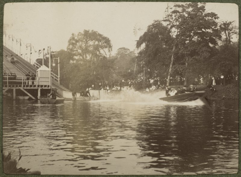 View of waterchute into the river at the International Exhibition in Glasgow 1901.  Titled: '1887 Water chute on Kelvin'