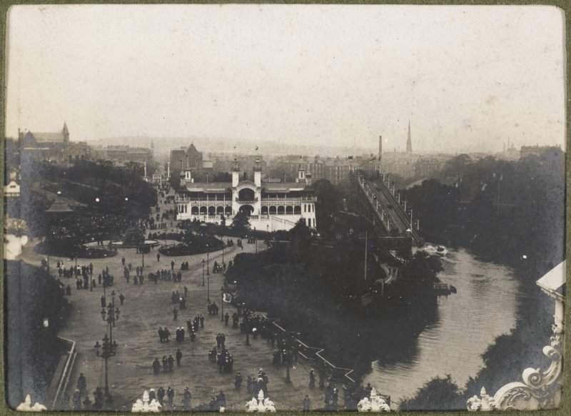 View of the river and the site of the International Exhibition in 1901 at Kelvingrove Park, Glasgow.