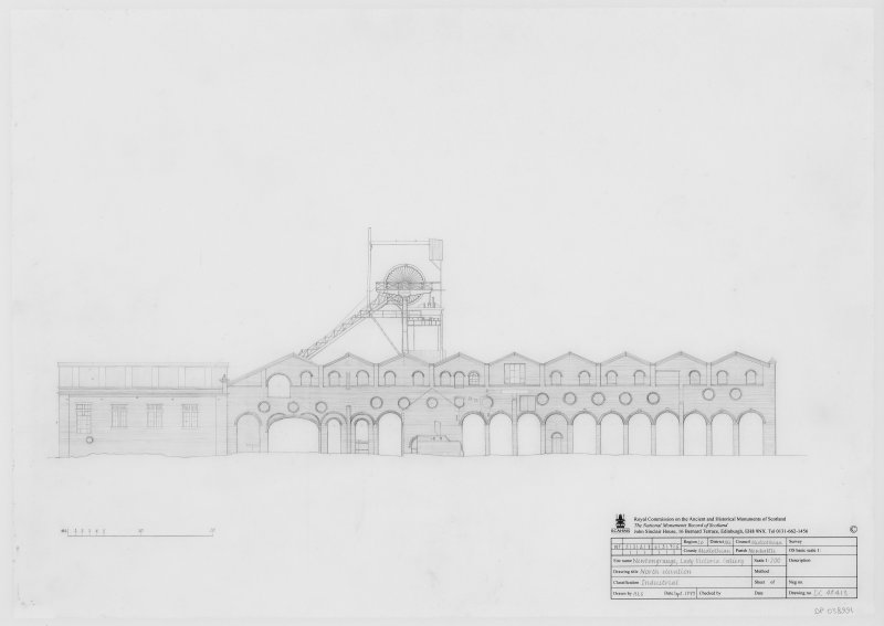 Digital copy of survey drawing of North elevation of Lady Victoria Colliery, Newtongrange.