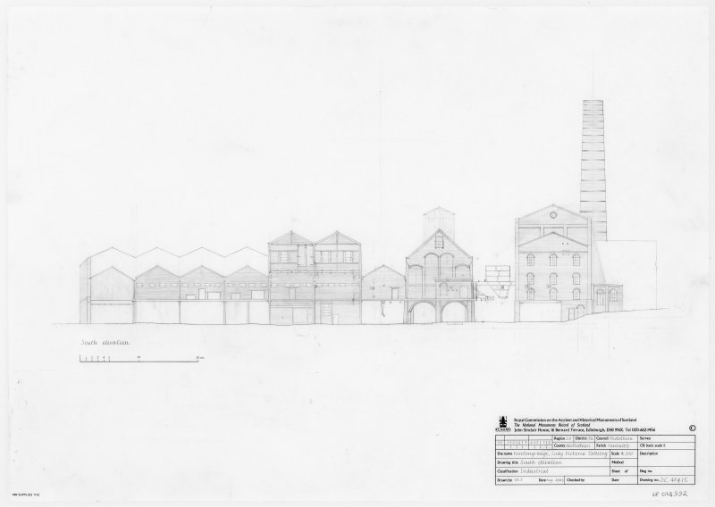 Survey drawing of South elevation of Lady Victoria colliery, Newtongrange.