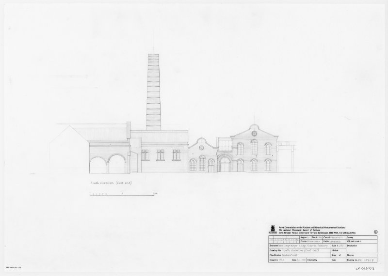 Survey drawing of South elevation (East end) of Lady Victoria Colliery, Newtongrange.