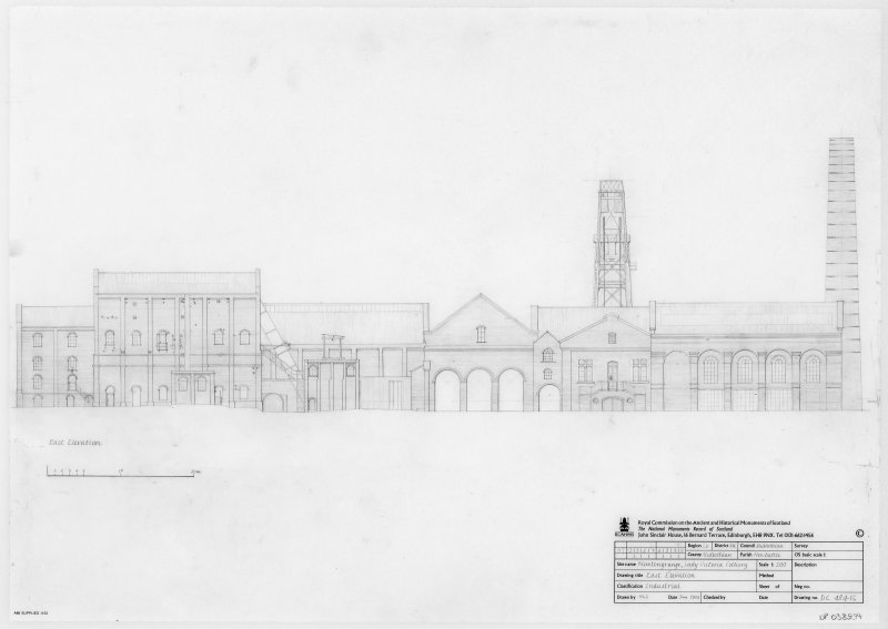 Survey drawing of East elevation of Lady Victoria Colliery, Newtongrange.