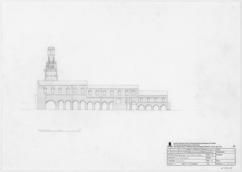 Survey drawing of West elevation of Lady Victoria Colliery, Newtongrange.