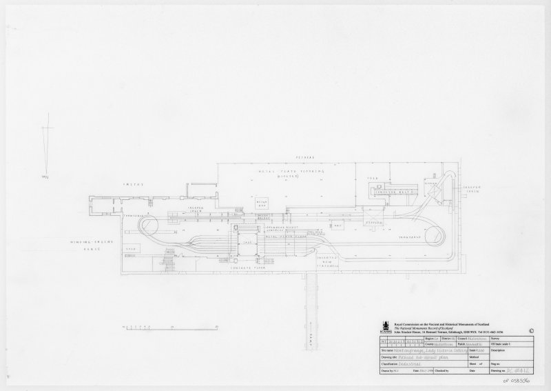 Digital copy of survey drawing of pithead tub-circuit plan of Lady Victoria Colliery, Newtongrange.