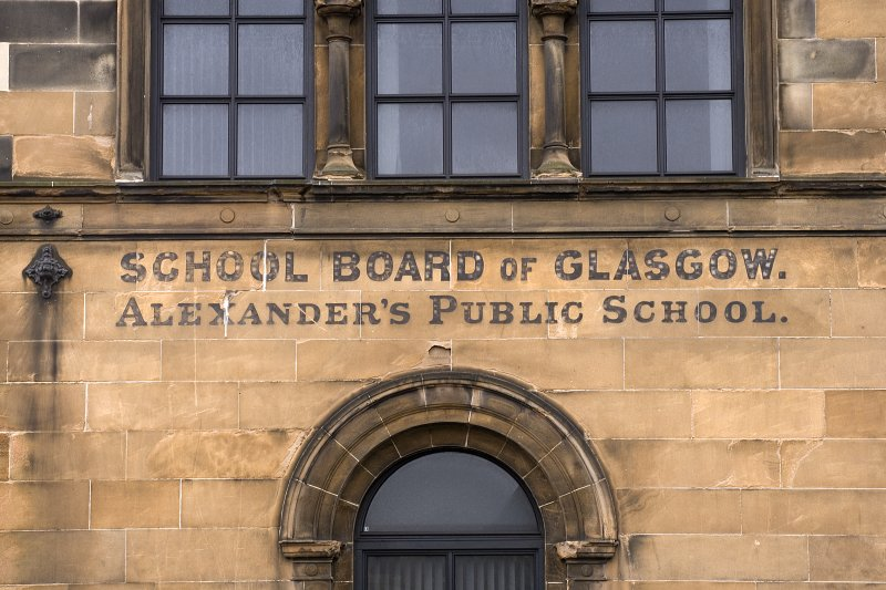 E gable, detail of lettering