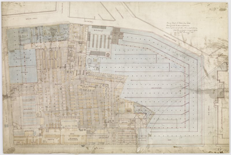 "Digital copy of plan of Pullar's Dye Works, Perth. Insc: ""Plan of Messrs J.Pullar & Sons Works. Shewing present Works and Extensions. Extensions coloured light blue, old works, dark shade. Scale three quarters of an inch equal to 10 feet."""