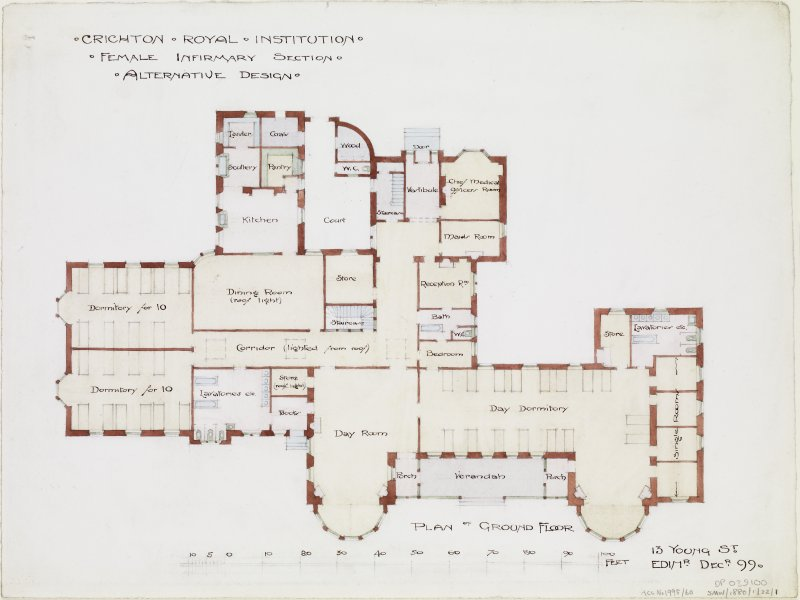 Digital copy of ground floor plan of Rutherford House.
