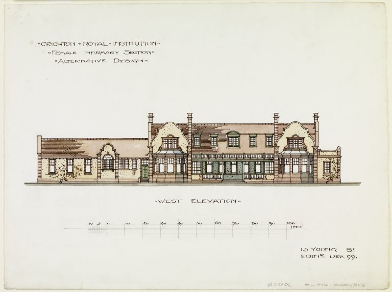 Digital copy of west elevation of Rutherford House.