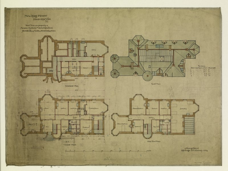 Plans of basement, roof, ground floor and first floor.