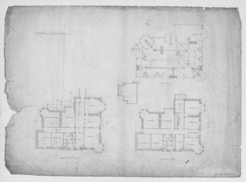Ground floor, roof and first floor plans for North West attached villa.