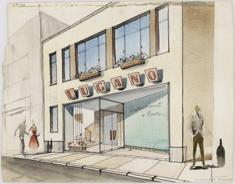 Presentation drawing of artists impression of street front of Lugano Restaurant and Bar, Largs.