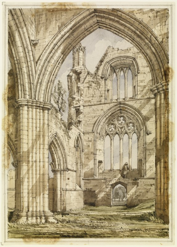 Sweetheart Abbey by R W Billings, 1848. The preparatory drawing for the engraved plate for 'The Baronial and Ecclesiastical Antiquities of Scotland.