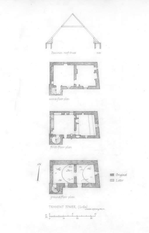 Ground, first and second floor plans, and roof detail.