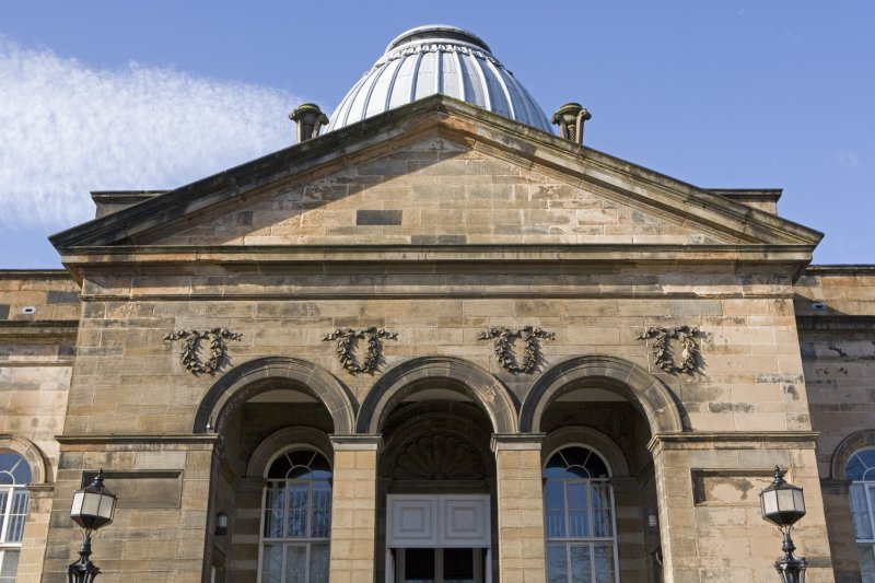 Pediment and dome, view from E