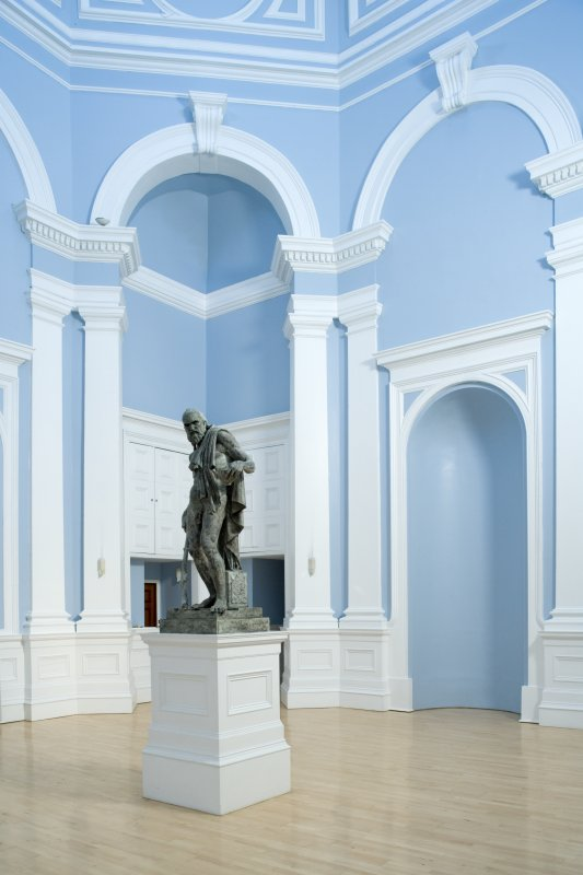 Interior. Entrance hall, view from NNE with statue of Diogenes by Stoddart