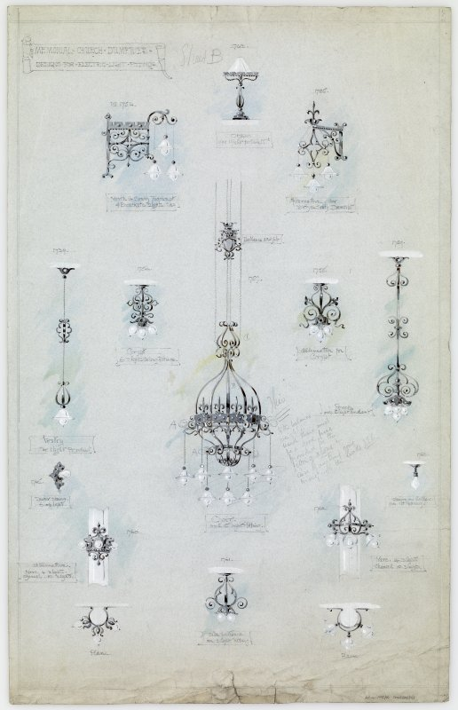 Digital copy of details of light fittings at Crichton Memorial Church.