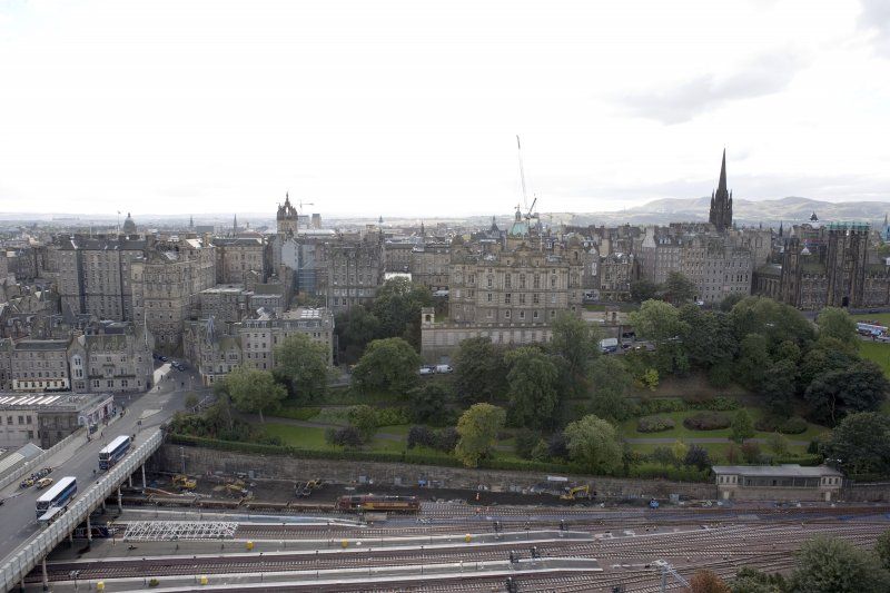 General view from the top of the Scott Monument looking S, centring on the Bank of Scotland Buildings.