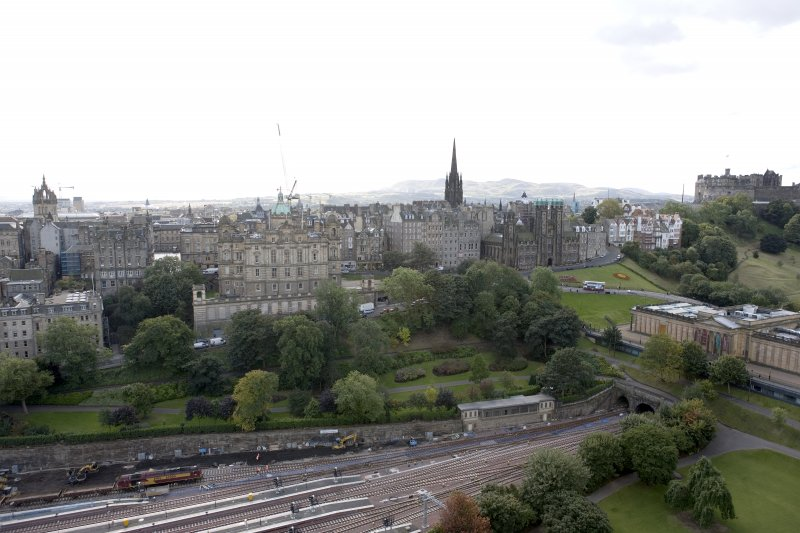 General view taken from the top of the Scott Monument looking SSW, centring on the Bank of Scotland Buildings.
