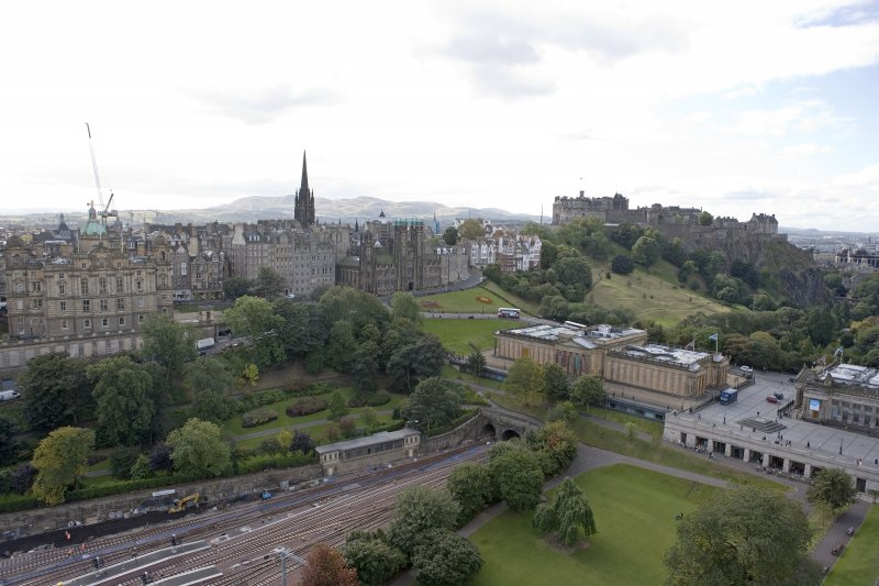 General view taken from the top of the Scott Monument looking SW, centring on The Mound.