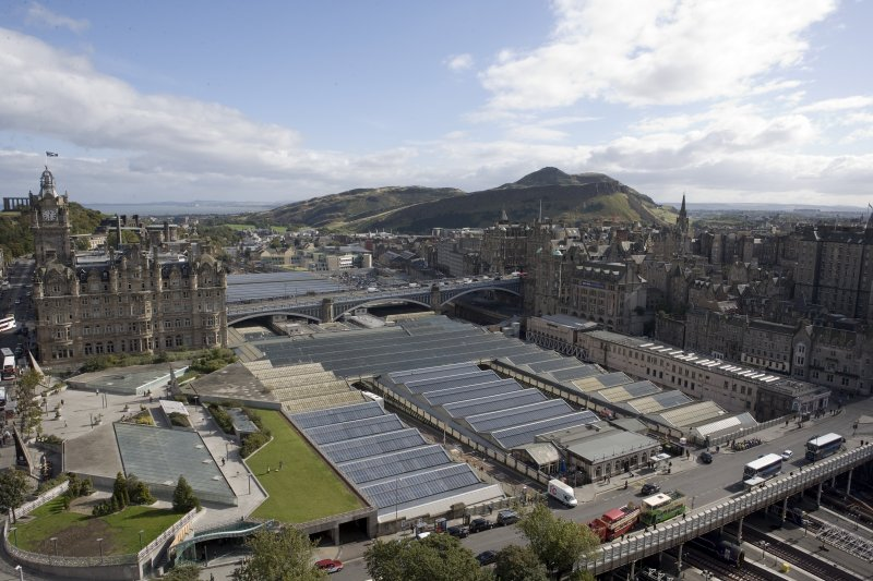 View taken from the top of the Scott Monument looking ESE, centring on the Waverley Station, Edinburgh.