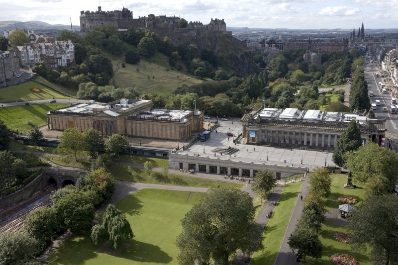 General view from the top of the Scott Monument looking W, centring on the National Gallery Of Scotland.