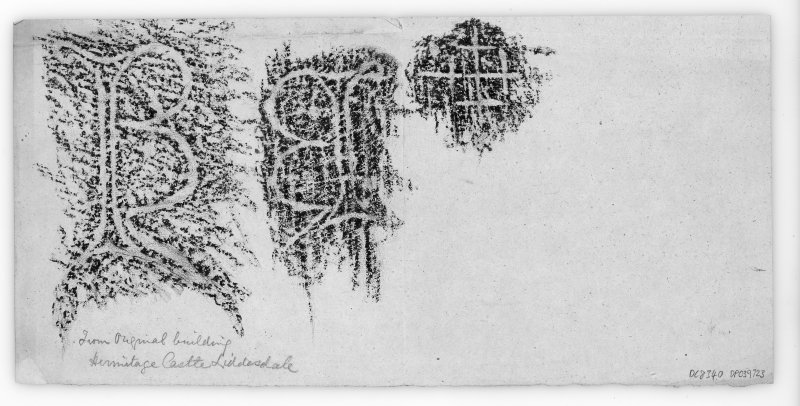 Hermitage Castle Rubbings of mason's marks taken from original part of castle