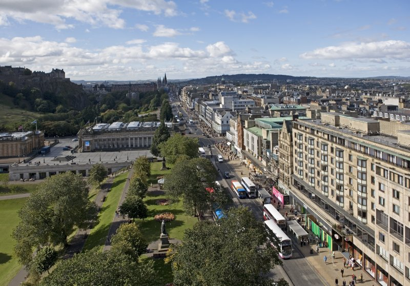 General view taken from the Scott Monument looking W, centring on the Princes Street.
