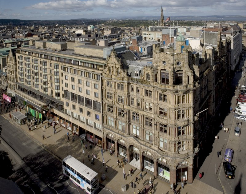 General view taken from the Scott Monument looking NNW, centring on Jenners.