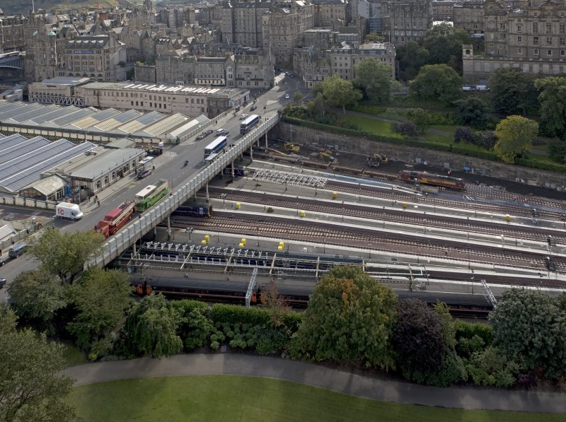 View taken from the top of the Scott Monument looking SSE, centring on Waverley Bridge.