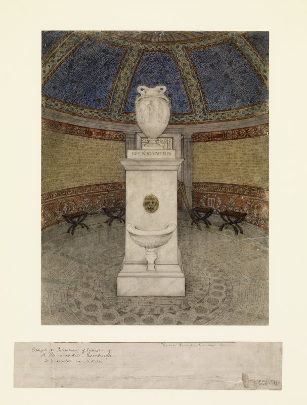 Digital copy of design for interior decoration of pump-room, insc: 'Design for Decoration of Interior of St. Bernard's Well, Edinburgh. To be executed as mosaic'   Signed 'Thomas Bonnar, Decorator, Edinr'