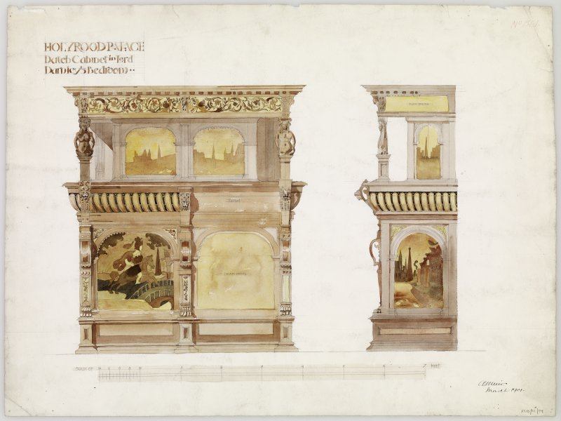 Drawing of Dutch cabinet from Lord Darnley's room, Holyrood Palace, Edinburgh.