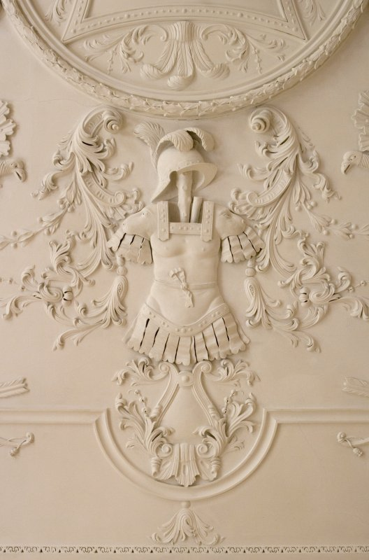 Main floor, saloon, detail of plaster ceiling. Marchmont House.