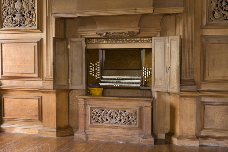 Interior view of Marchmont House. Main floor, music room, detail of organ