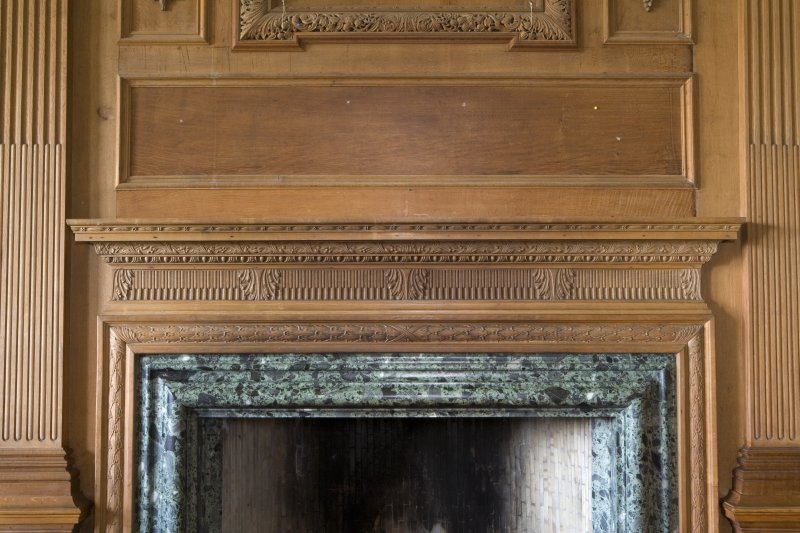 Interior. Main floor, music room, detail of fireplace