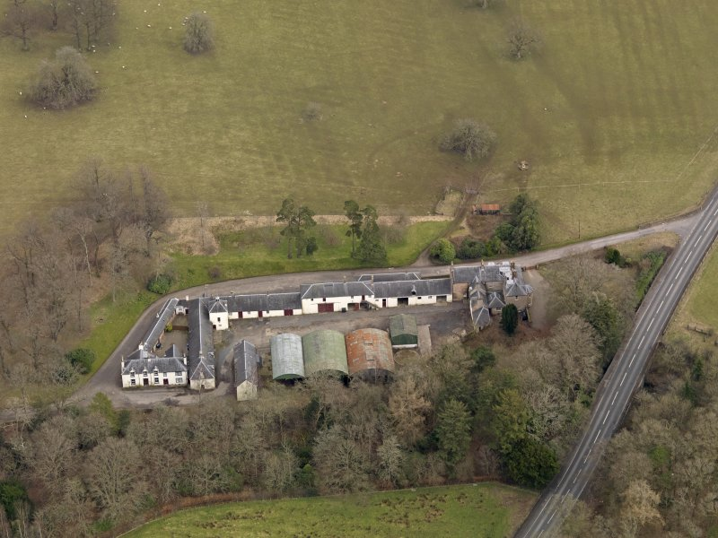 Oblique aerial view centred on the Mains Farmstead, taken from the SW.