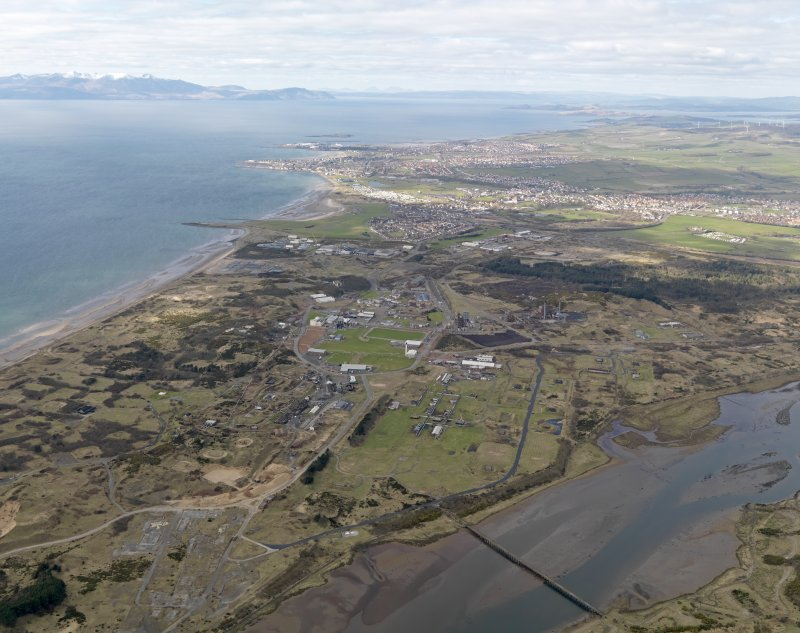 General oblique aerial view centred on the former Ardeer ICI works complex, taken from the SE.