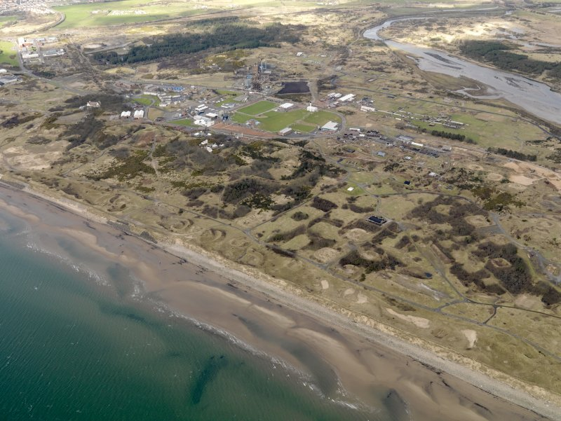 Oblique aerial view centred on N part of the Ardeer ICI works, taken from ther SSW.