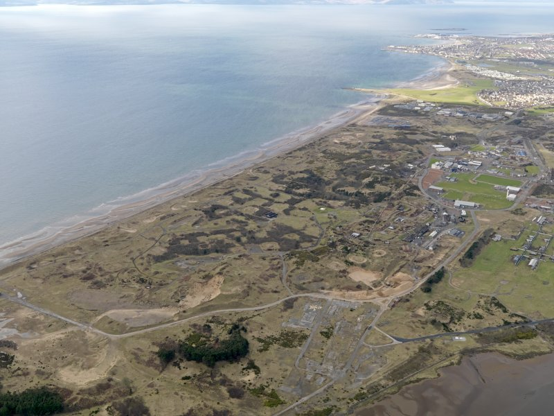 General oblique aerial view centred on the former Ardeer ICI works complex, taken from the ESE.