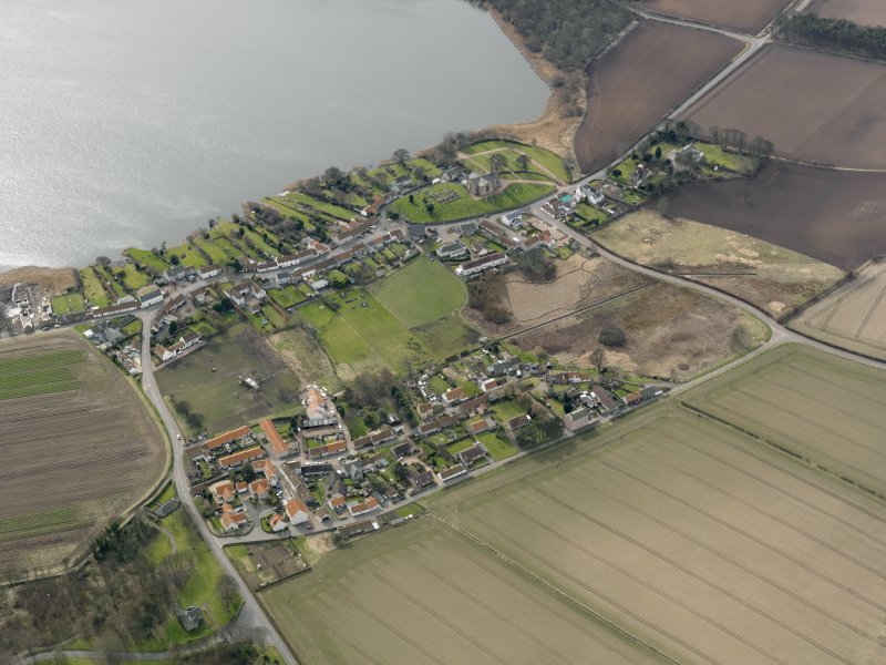 General oblique aerial view centred on the villages, taken from the NNE.