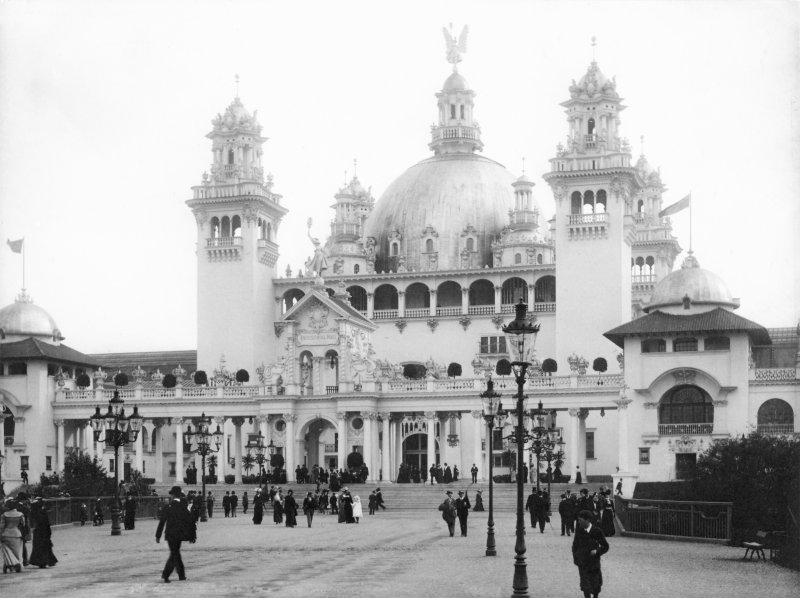 Photograph of Industrial Hall building taken during the Glasgow International Exhibition in 1901.